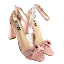 Sandałki na obcasie różowe 118-11 pink 4
