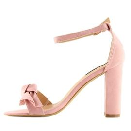 Sandałki na obcasie różowe 118-11 pink 1