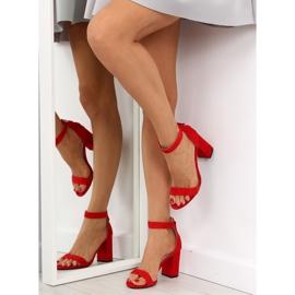 Sandałki nad szerokim obcasie czerwone red 3