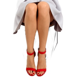 Sandałki nad szerokim obcasie czerwone red 1