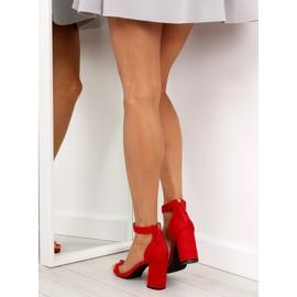 Sandałki nad szerokim obcasie czerwone red 2