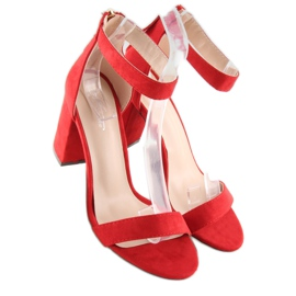 Sandałki nad szerokim obcasie czerwone red 4