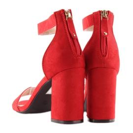 Sandałki nad szerokim obcasie czerwone red 5