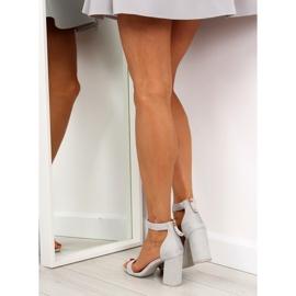 Sandałki nad szerokim obcasie szare grey 2