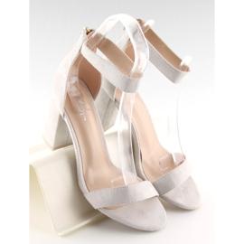 Sandałki nad szerokim obcasie szare grey 4
