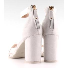 Sandałki nad szerokim obcasie szare grey 5