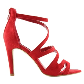 Sandałki na obcasie czerwone 118-15 red 3