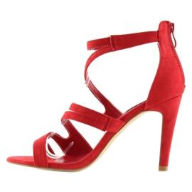 Sandałki na obcasie czerwone 118-15 red 7