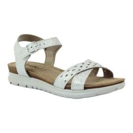 Sandały wkładka skórzana Inblu 038 srebrne szare 1