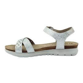 Sandały wkładka skórzana Inblu 038 srebrne szare 2