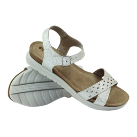 Sandały wkładka skórzana Inblu 038 srebrne szare 3