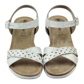Sandały wkładka skórzana Inblu 038 srebrne szare 4