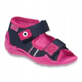 Befado obuwie dziecięce 242P056 granatowe różowe 1