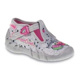 Befado obuwie dziecięce 110P317 różowe szare 1