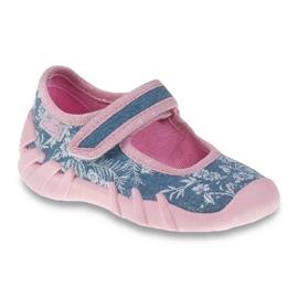 Befado różowe obuwie dziecięce 109P160 niebieskie 1