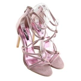 Sandałki na szpilce fioletowe L.PURPLE 2
