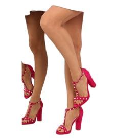 Sandałki na słupku fuksjowe A03 fuchsia różowe 3