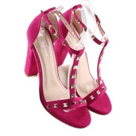 Sandałki na słupku fuksjowe A03 fuchsia różowe 5