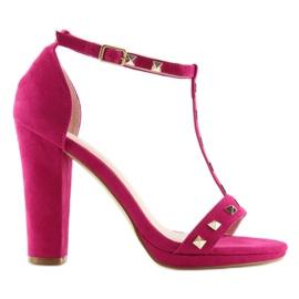 Sandałki na słupku fuksjowe A03 fuchsia różowe 1