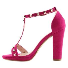Sandałki na słupku fuksjowe A03 fuchsia różowe 2