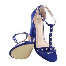 Sandałki na słupku granatowe A03 blue 4