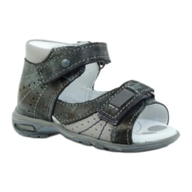 Sandałki na rzepy z odblaskiem Ren But 1407 wielokolorowe szare 1