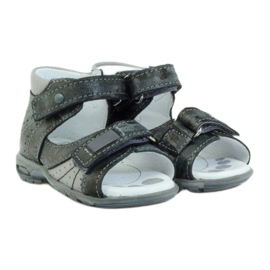 Sandałki na rzepy z odblaskiem Ren But 1407 wielokolorowe szare 3