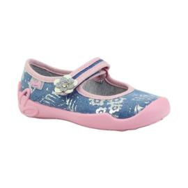 Befado obuwie dziecięce kapcie balerinki 114x280 różowe szare niebieskie 1