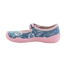 Befado obuwie dziecięce kapcie balerinki 114x280 różowe szare niebieskie 2