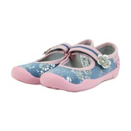 Befado obuwie dziecięce kapcie balerinki 114x280 różowe szare niebieskie 3