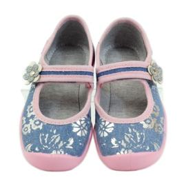 Befado obuwie dziecięce kapcie balerinki 114x280 różowe szare niebieskie 4