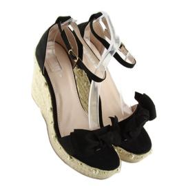Sandałki espadryle na koturnie czarne L2668 5