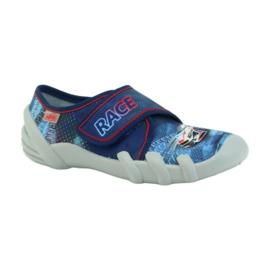 Befado obuwie dziecięce kapcie 273y222 granatowe czerwone niebieskie 1