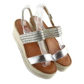 Sandałki espadryle na koturnie srebrne GG-5 szare 4