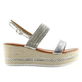 Sandałki espadryle na koturnie srebrne GG-5 szare 5