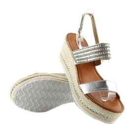 Sandałki espadryle na koturnie srebrne GG-5 szare 1
