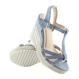 Sandałki espadryle na koturnie niebieskie 680-30 Blue 2
