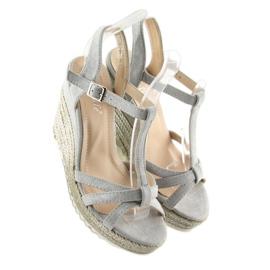 Sandałki espadryle na koturnie szare 680-30 Grey 7