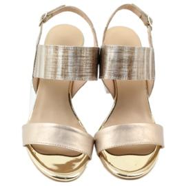 Sandały na słupku Gamis 3390 złote złoty 4