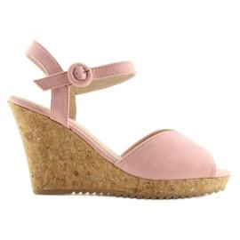 Sandałki na korkowym koturnie różowe 3811 4