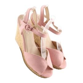 Sandałki na korkowym koturnie różowe 3811 5