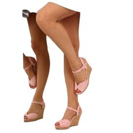 Sandałki na korkowym koturnie różowe 3811 6