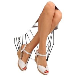 Sandałki na korkowym koturnie szare 3811 2