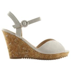 Sandałki na korkowym koturnie szare 3811 4