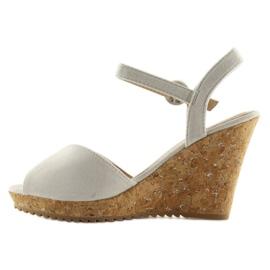 Sandałki na korkowym koturnie szare 3811 3