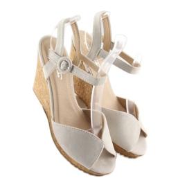 Sandałki na korkowym koturnie szare 3811 5
