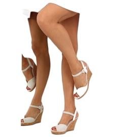 Sandałki na korkowym koturnie szare 3811 6