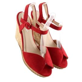 Sandałki na korkowym koturnie czerwone 3811 5
