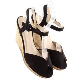 Sandałki na korkowym koturnie czarne 3811 5