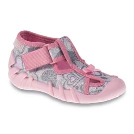 Befado obuwie dziecięce 190P084 szare różowe 1